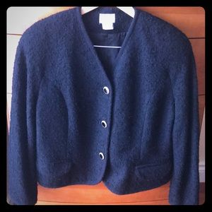 Jackets & Blazers - Boiled wool black jacket with button closure.